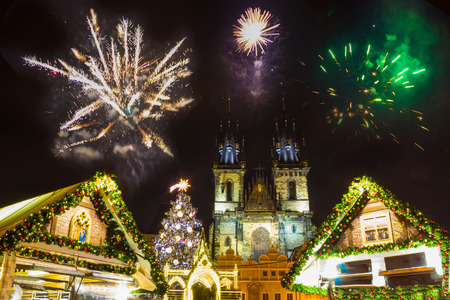 Prague New years fireworks 2018 Reklamní fotografie