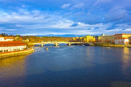 View of Mala Strana over Vltava river Stock Photo