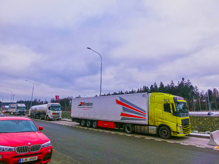 Prague, Czech Republic - December 30, 2017: The colorful trucks is parked near the gas station
