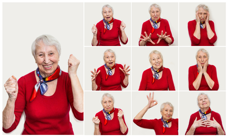 The collage from different emotions of senior woman 免版税图像