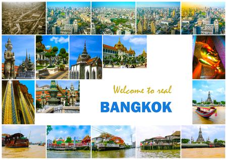 Collage of landmarks of Bangkok, Thailand.