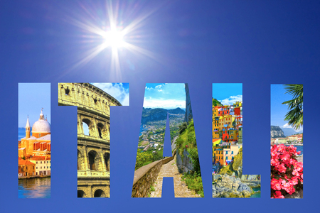 Collage of major Italian travel destinations Stock Photo