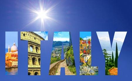 Collage of major Italian travel destinations Archivio Fotografico
