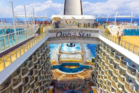 Ft. Lauderdale, USA - 30 April, 2018: The Boardwalk, Aqua Theater amphitheater, zip line and sport playgrounds at cruise liner or ship Oasis of the Seas by Royal Caribbean