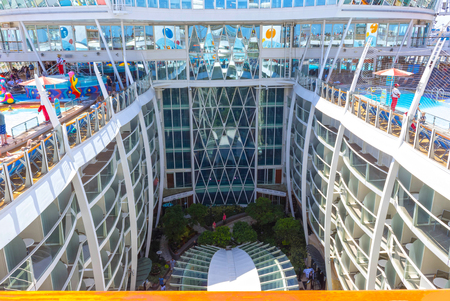 Ft. Lauderdale, USA - 30 April, 2018: The central park at cruise liner or ship Oasis of the Seas by Royal Caribbean Editorial