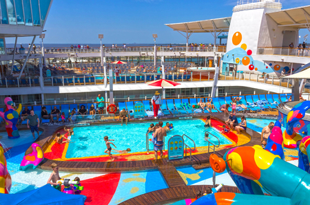 Fort Lauderdale, USA - 30 April, 2018: The upper deck with childrens swimming pools at cruise liner or ship Oasis of the Seas by Royal Caribbean