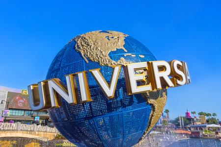 Orlando, USA - May 9, 2018: The large rotating Universal logo globe on May 9, 2018. Editorial
