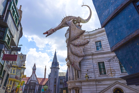 Orlando, USA May 8, 2018: Dragon at the Gringotts Bank in Diagon Alley at The Wizarding World Of Harry Potter in Universal Studio Orlando. Editorial