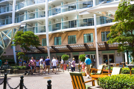 Ft. Lauderdale, USA - April 29, 2018: The central park at cruise liner or ship Oasis of the Seas by Royal Caribbean Editorial