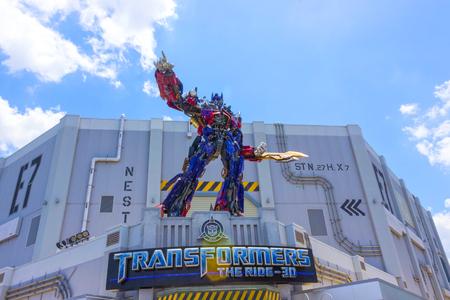 ORLANDO, FLORIDA, USA - MAY 08, 2018: Universal Studios. Entrance of Transformers 3D ride.