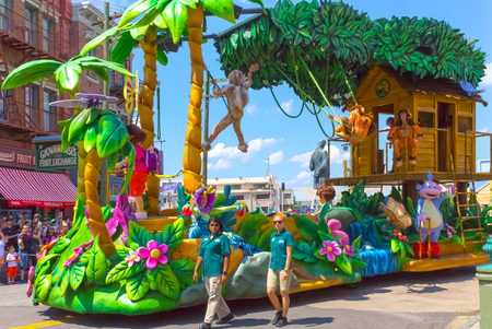 Orlando, USA - May 8, 2018: The large parade with performers at Universal Studio park on May 8, 2018. Editorial