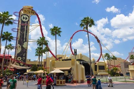 ORLANDO, FLORIDA, USA - MAY 08, 2018: Roller coaster Rock it at Universal Studios park Editorial