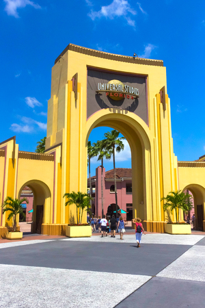 Orlando, USA - May 8, 2018: The people going to main entrance to park Universal Studios
