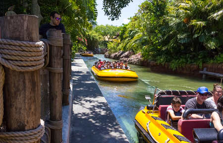 Orlando, Florida, USA - May 09, 2018: Jurassic Park River Adventure in the Jurassic Park area of Universals Island of Adventure
