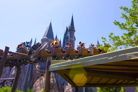 Orlando, Florida, USA - May 09, 2018: Roller Coaster Flight of the Hippogriff. The Wizarding World of Harry Potter. Islands of Adventure. Universal. Sajtókép