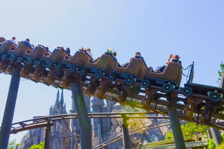 Orlando, Florida, USA - May 09, 2018: Roller Coaster Flight of the Hippogriff. The Wizarding World of Harry Potter. Islands of Adventure. Universal. Editorial