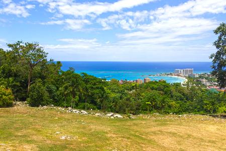 Jamaican Beach A. Caribbean beach on the northern coast of Jamaica, near Dunns River Falls and Ocho Rios. Stock Photo