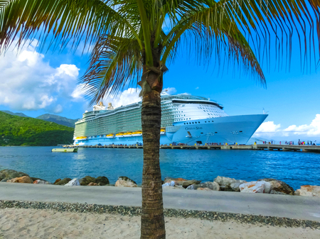LABADEE, HAITI - MAY 01, 2018: Royal Caribbean cruise ship Oasis of the Seas docked at the private port of Labadee in the Caribbean Island of Haiti