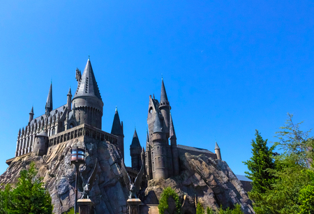 Orlando, Florida, USA - May 09, 2018: The Hogwarts Castle at The Wizarding World Of Harry Potter in Adventure Island of Universal Studios Orlando. Редакционное