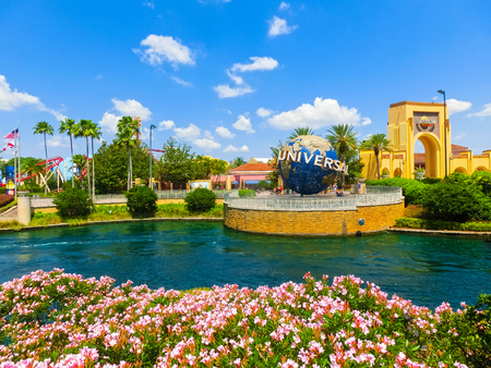 Orlando, USA - May 8, 2018: The large rotating Universal logo globe on May 9, 2018.