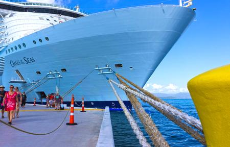 LABADEE, HAITI - MAY 01, 2018: Royal Caribbean, Oasis of the Seas docked in Labadee, Haiti on May 1 2018.