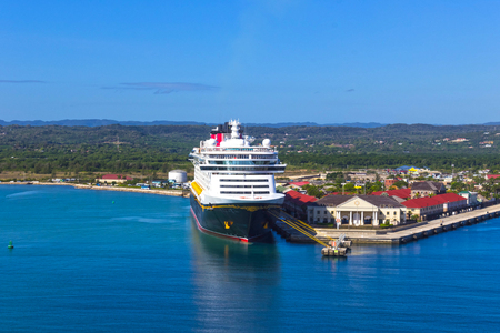 Falmouth, Jamaica - May 02, 2018: Cruise ship Disney Fantasy by Disney Cruise Line docked in Falmouth, Jamaica