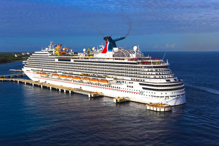 Cozumel, Mexico - May 04, 2018: The Carnival Breeze cruise ship in port in Cozumel, Mexico