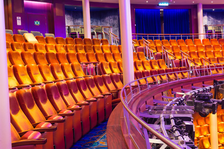 Cape Canaveral, USA - April 29, 2018: The Rows of seats in a theater at cruise liner or ship Oasis of the Seas Editorial