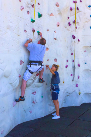 Cape Canaveral, USA - May 06, 2018: The climbing wall at cruise liner or ship Oasis of the Seas by Royal Caribbean