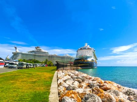 Falmouth, Jamaica - May 02, 2018: Cruise ship Disney Fantasy by Disney Cruise Line docked in Falmouth, Jamaica