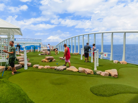 Cape Canaveral, USA - April 30, 2018: The upper deck with mini golf court at cruise liner or ship Oasis of the Seas by Royal Caribbean