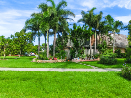 Typical Florida home in the countryside with palm trees, tropical plants and flowers