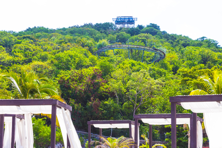 Summer bobsleigh track at Labadee island at Haiti at sunny day, Standard-Bild - 105939839