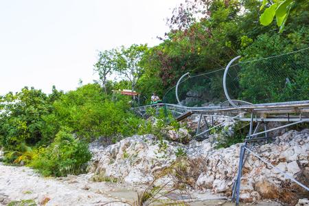 LABADEE, HAITI - MAY 01, 2018: Summer bobsleigh track at Labadee island at Haiti at sunny day,