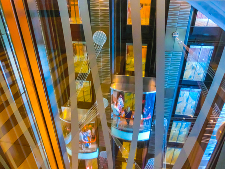 Cape Canaveral, USA - April 29, 2018: The details of interior of cruise ship Oasis of the Seas of Royal Caribbean International
