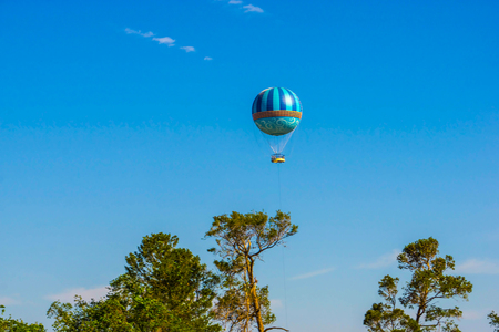 Hot air balloons flying on the blue sky Stock Photo