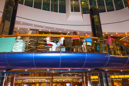 Cape Canaveral, USA - April 30, 2018: The movable bar at cruise liner Oasis of the Seas by Royal Caribbean