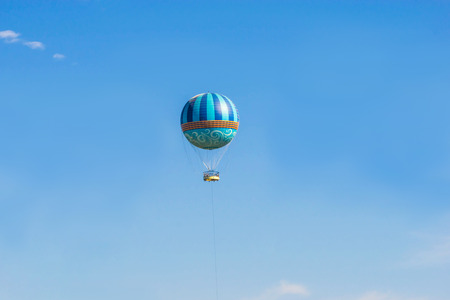 Hot air balloons flying on the blue sky 写真素材