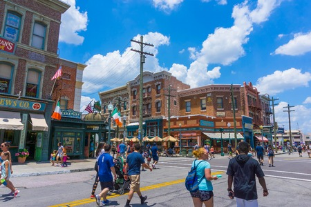 Orlando, Florida, USA - May 10, 2018: The people going at Universal Studios Orlando. Universal Studios Orlando is a theme park resort in Orlando, Florida.