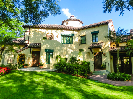 Orlando, Florida, USA - May 10, 2018: The italian manor house at Universal Studios Orlando. Universal Studios Orlando is a theme park resort in Orlando, Florida. Editorial