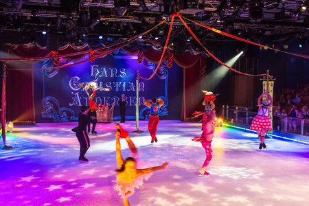 Cape Canaveral, USA - May 02, 2018: The show at ice arena or ice theater or ice amphitheater at cruise liner Oasis of the Seas by Royal Caribbean docked in Cape Canaveral, USA on May 02, 2018