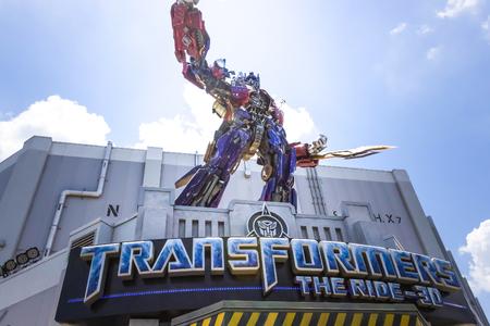ORLANDO, FLORIDA, USA - MAY 08, 2018: Universal Studios Entrance of Transformers 3D ride attraction
