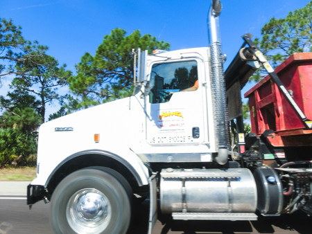 Orlando, Florida, USA - May 10, 2018: American style truck on freeway road at Orlando, Florida, USA on May 10 2018