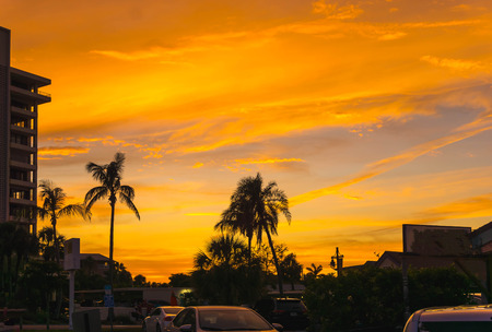 Sunset at Siesta Key beach at Florida, USA Stock Photo