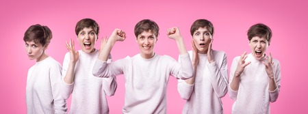 Collage with different emotions in one beautiful young woman dressed in white sweater. Attractive female expresses surprise, fear and joy over pink background. Facial expressions Stock Photo