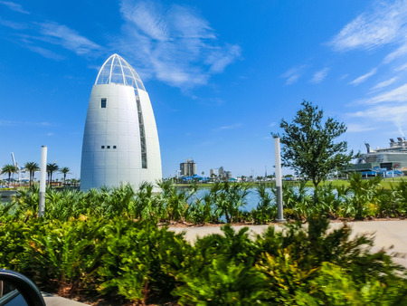 Cape Canaveral, USA - April 29, 2018: Exploration Tower is located at the Port of Canaveral and features fun exhibits and an observation deck overlooking the port at Cape Canaveral, USA on April 29, 2018