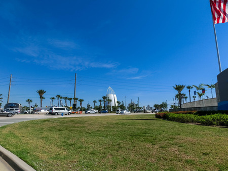 Cape Canaveral, USA - April 29, 2018: Exploration Tower is located at the Port of Canaveral and features fun exhibits and an observation deck overlooking the port at Cape Canaveral, USA on April 29, 2018 Editorial