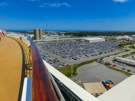 Cape Canaveral, USA. The arial view of port Canaveral from cruise ship, docked in Port Canaveral, Brevard County, Florida
