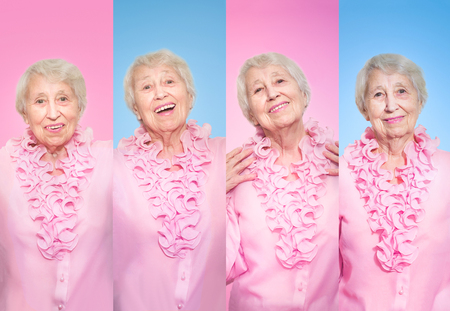 The collage from different emotions of senior woman on rose studio background