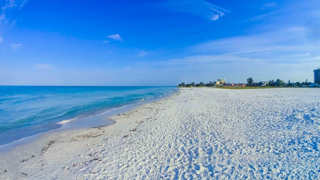 The beach on Siesta key beach with white sand. Stok Fotoğraf